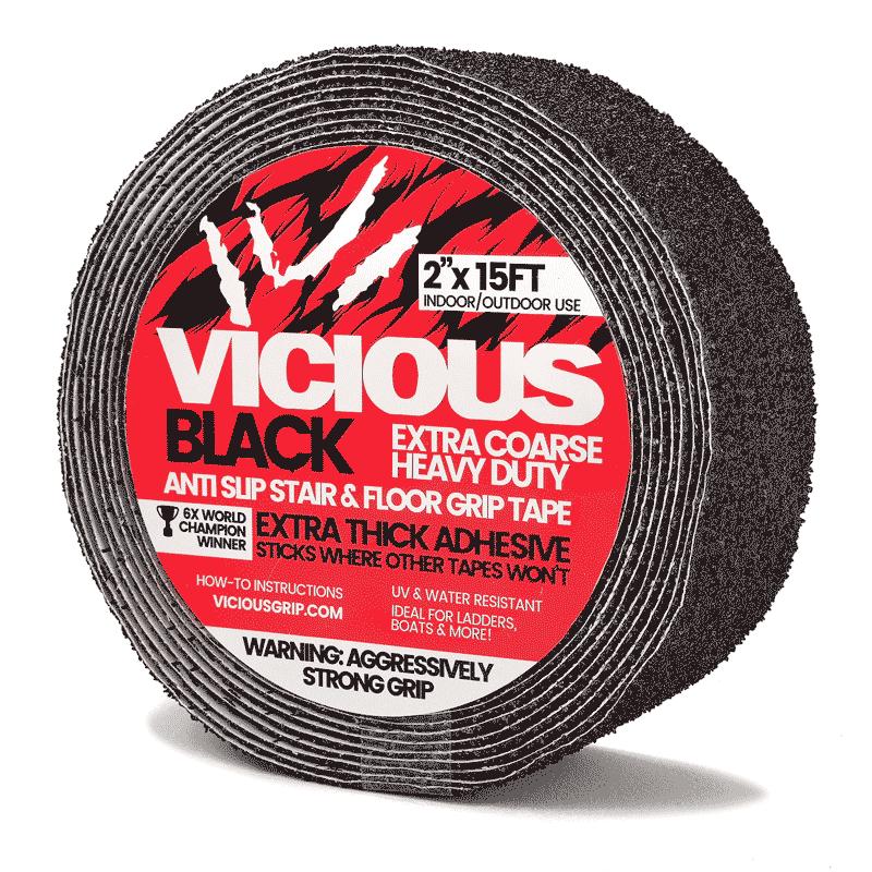 "Vicious Anti Slip Stair Tread Extra Coarse Heavy Duty 2"" Wide Black"
